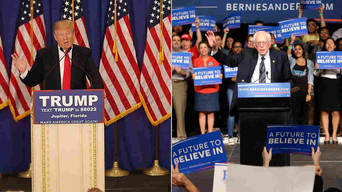 Presidential candidates Donald Trump and Bernie Sanders celebrate after victories in Tuesday night's contests.