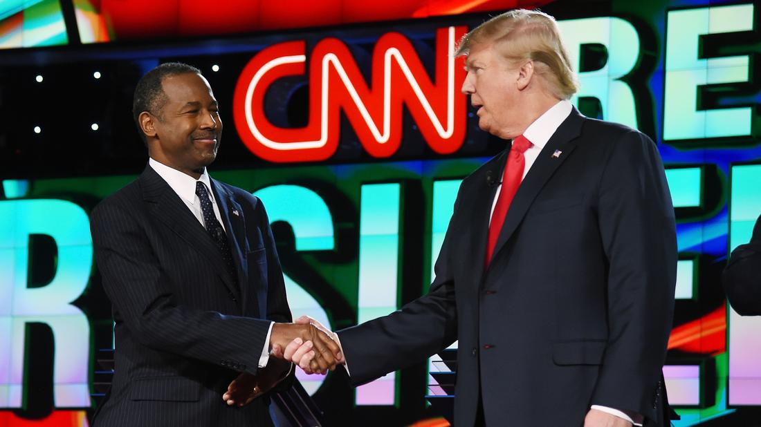 Ben Carson and Donald Trump at the CNN presidential debate at the Venetian Las Vegas on December 15, 2015.