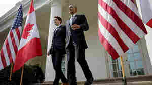President Obama and Canadian Prime Minister Justin Trudeau walk from the Oval Office to a joint press conference in the Rose Garden of the White House on Thursday.