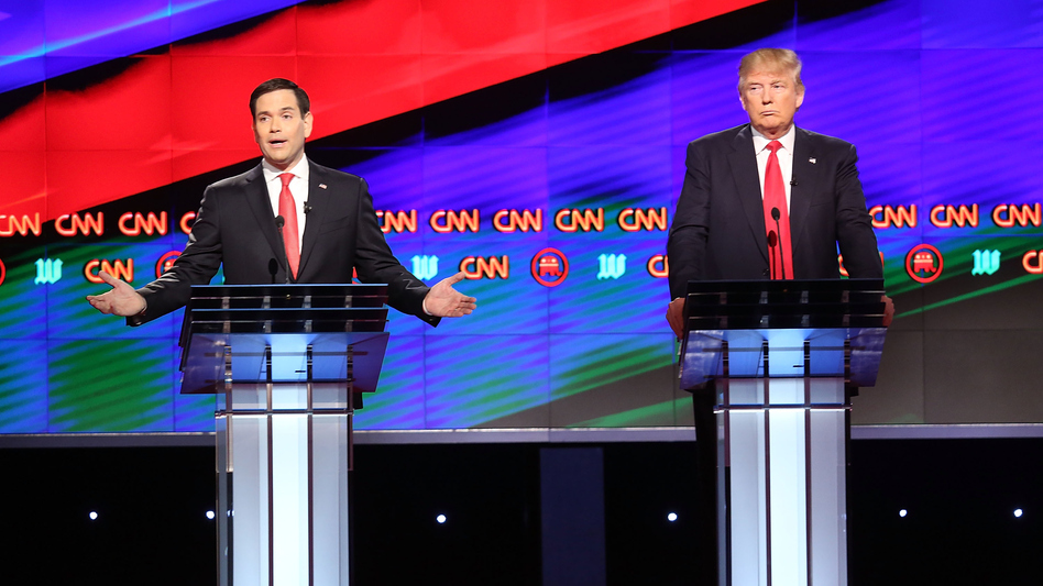 Republican presidential candidates, Sen. Marco Rubio, R-Fla., left, and Donald Trump, debate on the campus of the University of Miami on Thursday in Coral Gables, Florida. (Getty Images)
