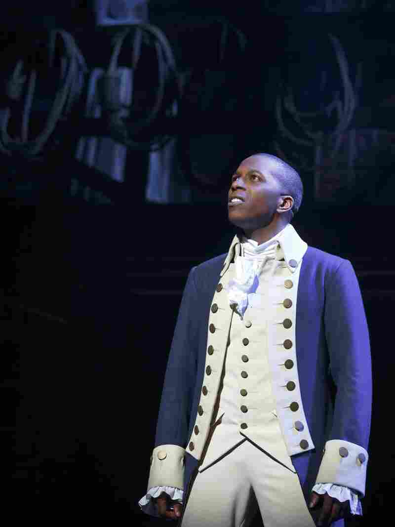 Leslie Odom Jr. as Aaron Burr in the Broadway musical Hamilton.