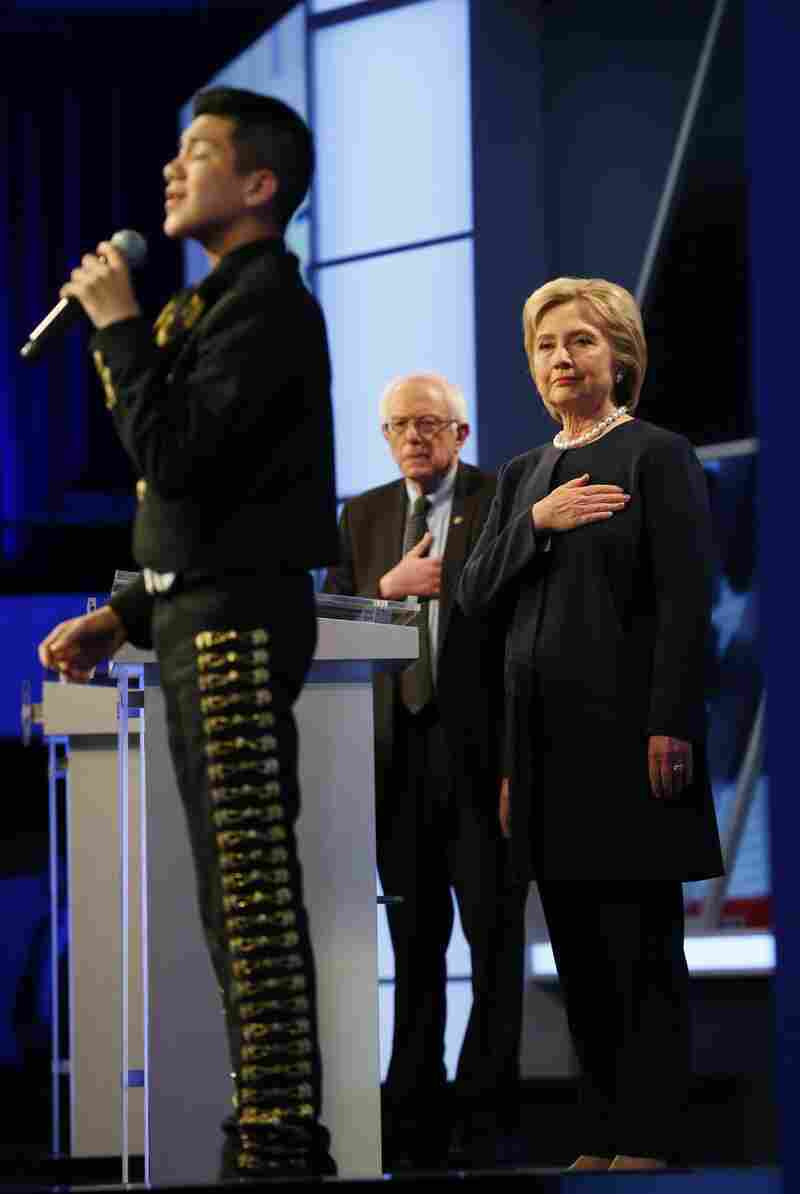 11-year-old Sebastien De La Cruz sings the national anthem to open Wednesday's Democratic presidential debate, sponsored by Univision and The Washington Post.