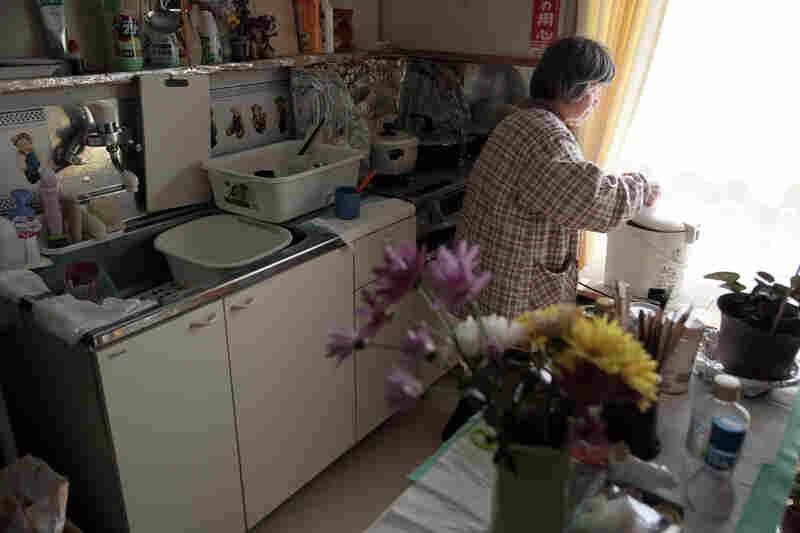Saki Sato, 77, is an evacuee from Iitate village. She has lived alone in this temporary home for nearly five years.