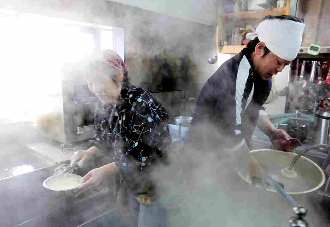 Yoshiharu and Chiyoko Takahashi and their son, Hiroshi, are evacuees from Iitate village. They reopened their noodle restaurant, Ebisu-An, which was the oldest restaurant in the village. It was opened by Yoshiharu Takahashi's father 63 years ago.