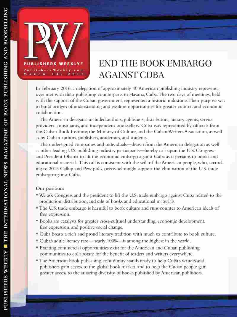 The petition will appear on the March 14 editorial cover of Publishers Weekly, which is one of the signatories.