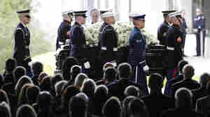 Nancy Reagan's casket arrives at the funeral service at the Ronald Reagan Presidential Library in Simi Valley, Calif., on Friday.