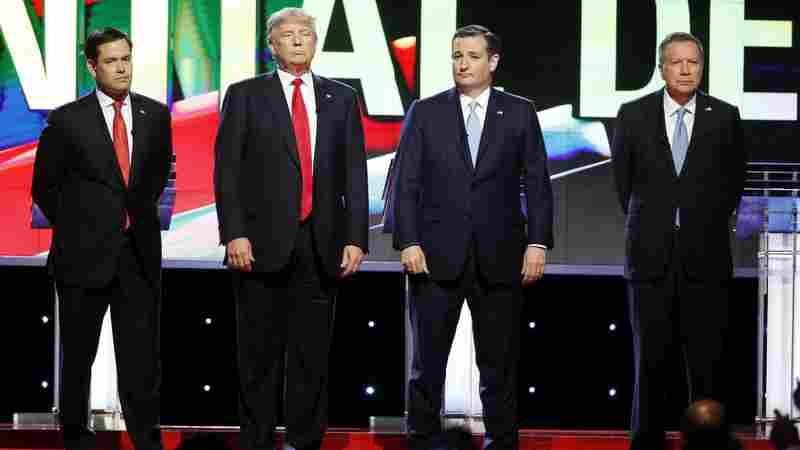 (From left) Florida Sen. Marco Rubio, Donald Trump, Texas Sen. Ted Cruz and Ohio Gov. John Kasich before the start of the Republican presidential debate Thursday in Miami.