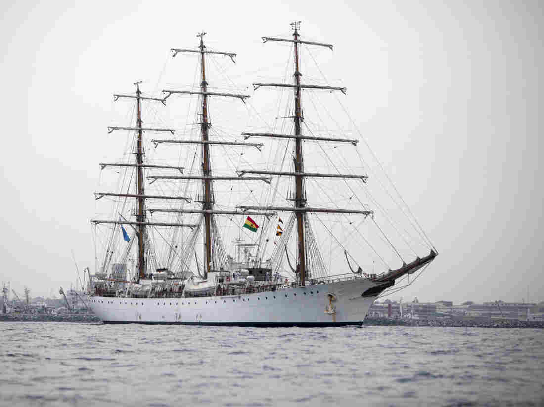 Argentina's three-masted navy training tall ship ARA Libertad, which was seized as collateral for unpaid bonds dating from Argentina's economic crisis a decade ago. (AP Photo/Gabriela Barnuevo)