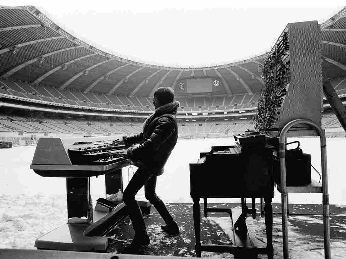 Keith Emerson of Emerson, Lake and Palmer at the Olympic Stadium in Montreal, Canada in 1977.