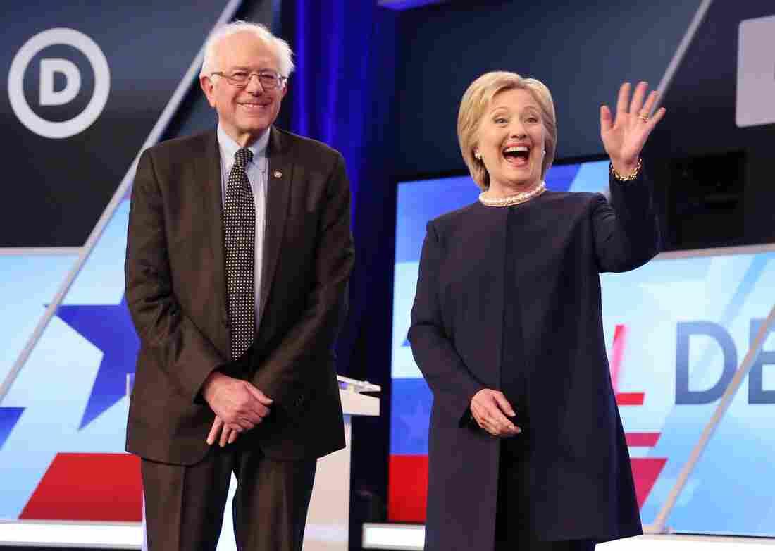Democratic presidential candidates Bernie Sanders and Hillary Clinton at the Univision Democratic debate in Miami.