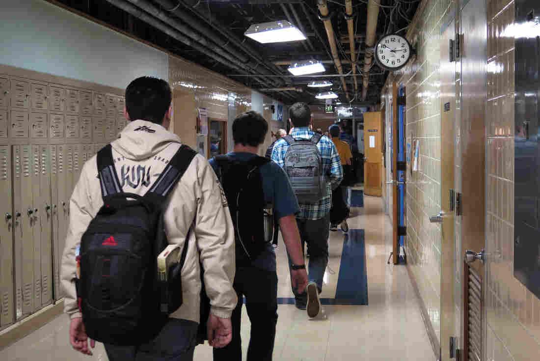 Students walk the halls in Kutztown Area High School.