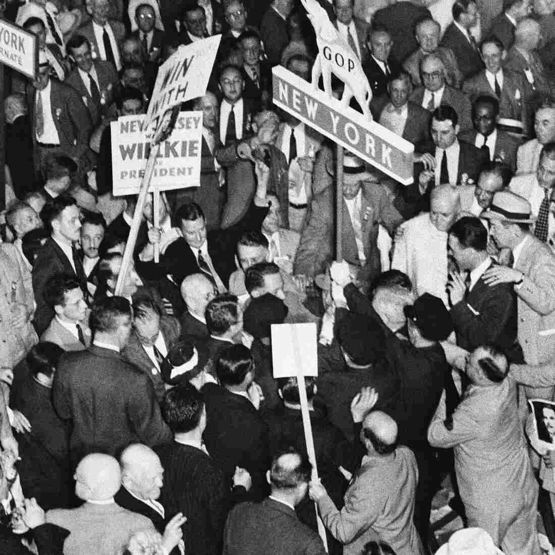After Wendell Wilkie was nominated in Philadelphia in 1940, Wilkie adherents in the New York delegation tried to take the state banner into the parade and Dewey friends to keep it out.