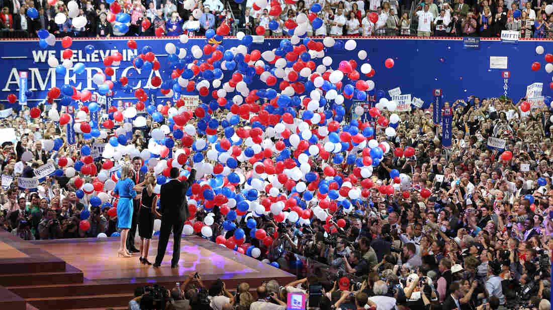 Mitt Romney and vice presidential candidate Paul Ryan are on stage with their wives at the end of the Republican National Convention in Tampa, Fla. in 2012.
