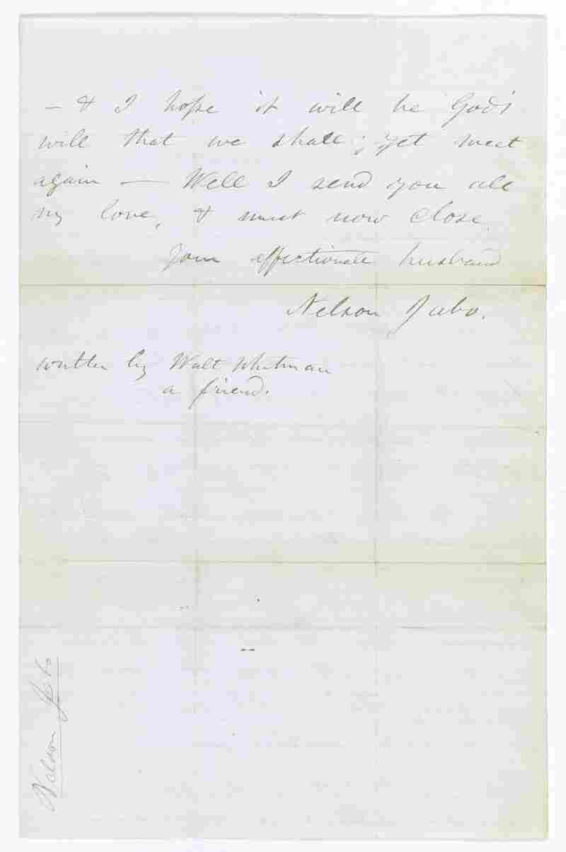 Walt Whitman wrote letters for soldiers he visited in hospitals. This is one of three researchers have found with Whitman's name on it.