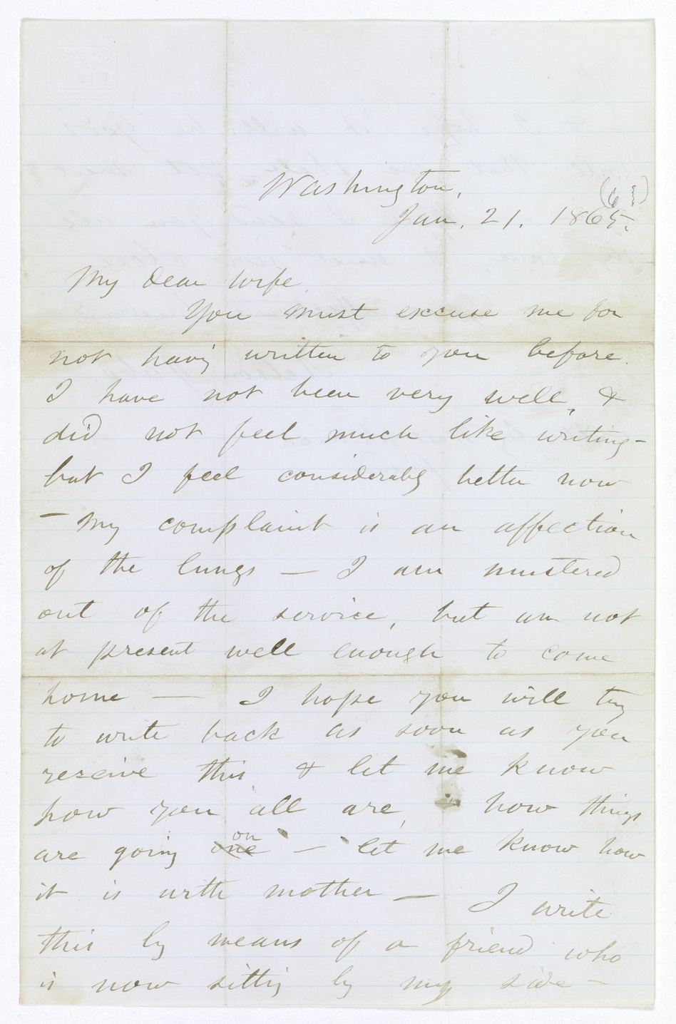 Walt Whitmans Letter For A Dying Soldier To His Wife Discovered