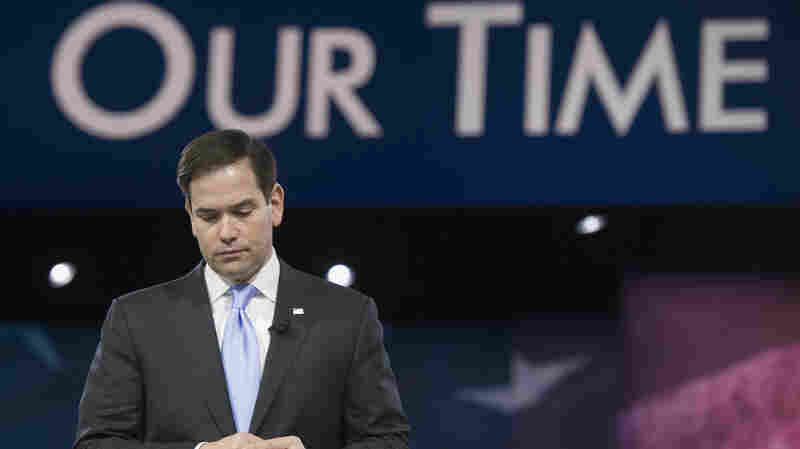 Sen. Marco Rubio, R-Fla., pauses while addressing the American Conservative Union's Conservative Political Action Conference in National Harbor, Md., earlier this month.