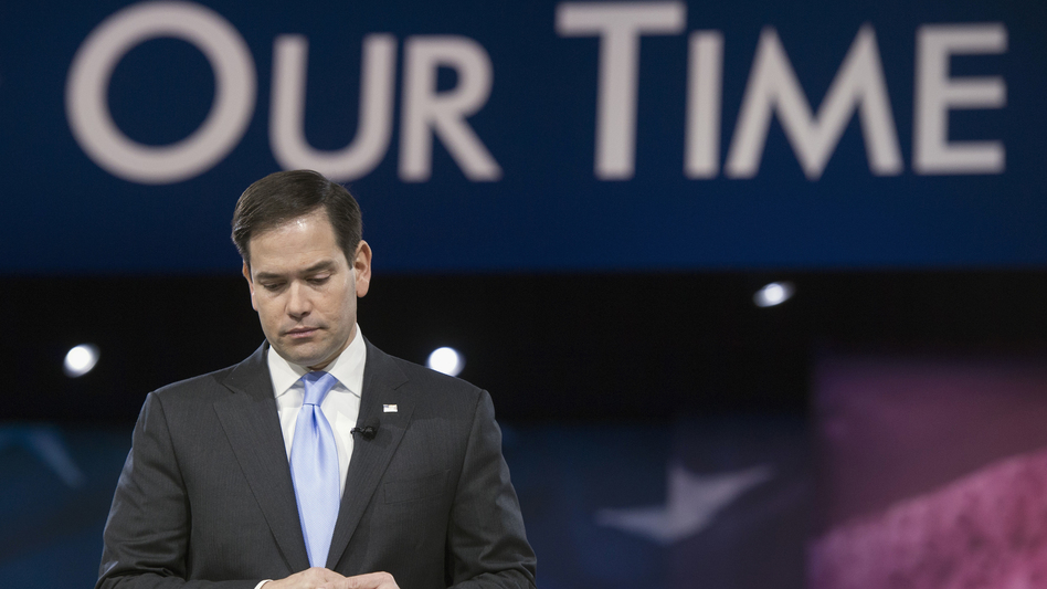 Sen. Marco Rubio, R-Fla., pauses while addressing the American Conservative Union's Conservative Political Action Conference in National Harbor, Md., earlier this month. (Cliff Owen/AP)