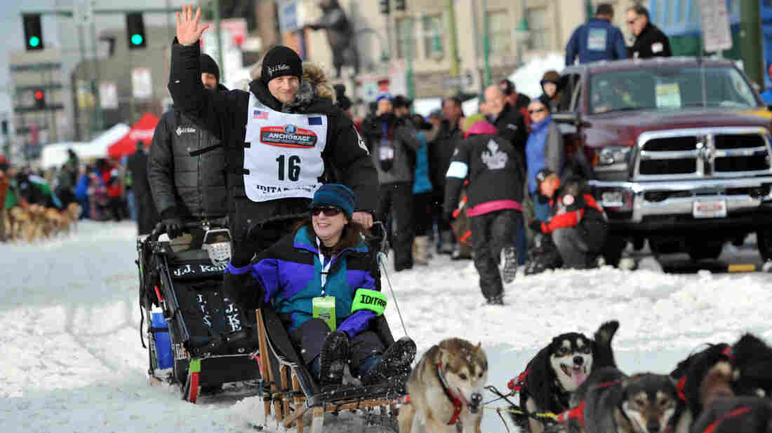 For the fourth time in five years, Dallas Seavey won the Iditarod Trail Sled Dog Race in Alaska. Here, he's seen at the ceremonial start of the 1,000-mile race in Anchorage.