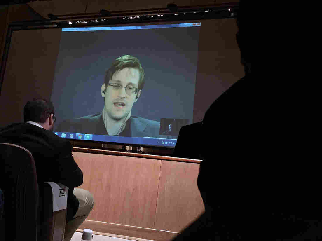 Former National Security Agency contractor Edward Snowden spoke via video conference at the Johns Hopkins University auditorium in Baltimore Feb. 17.