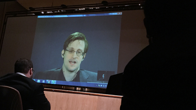 Former National Security Agency contractor Edward Snowden spoke via video conference at the Johns Hopkins University auditorium in Baltimore Feb. 17. (AP)