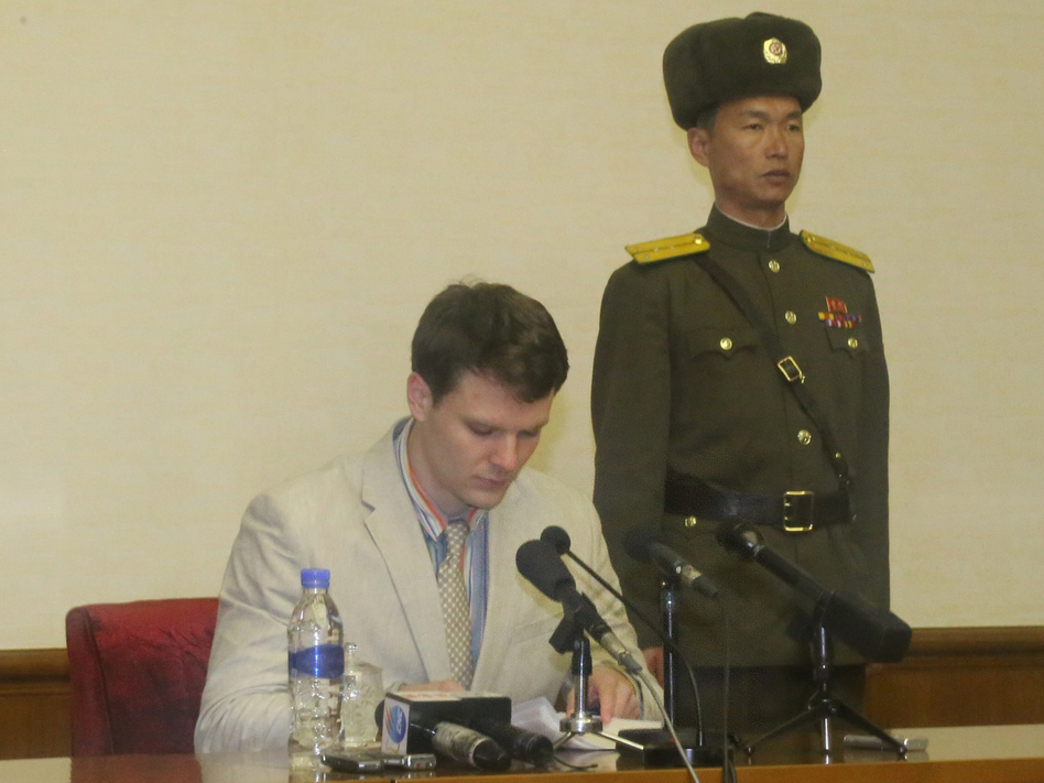 Otto Frederick Warmbier, a 21-year-old American student, speaks during a news conference in Pyongyang on Feb. 29. (Xinhua News Agency/Getty Images)
