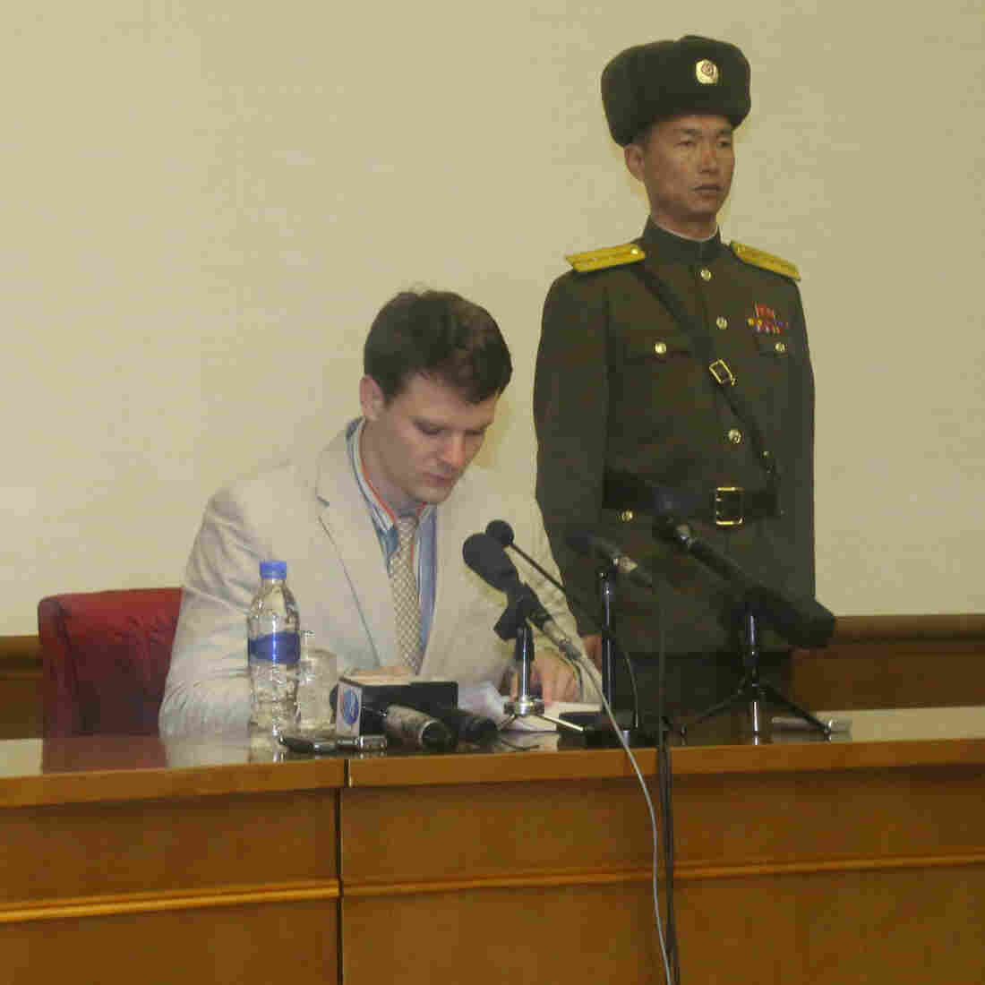 Otto Frederick Warmbier, a 21-year-old American student, speaks during a news conference in Pyongyang on Feb. 29.