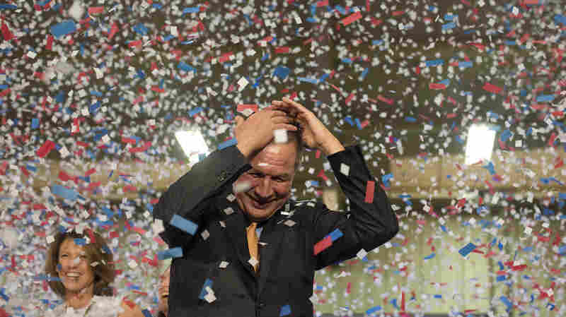 Confetti falls on the head of John Kasich, governor of Ohio and a 2016 Republican presidential candidate, after speaking during a campaign event in Berea, Ohio, on Tuesday. Kasich secured his first victory on Mega Tuesday.
