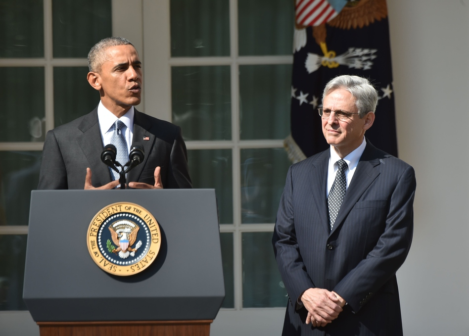 President Obama introduces Merrick Garland as his Supreme Court nominee Wednesday at the White House. Garland, 63, is currently chief judge of the U.S. Court of Appeals for the District of Columbia Circuit. (Nicholas Kamm/AFP/Getty Images)