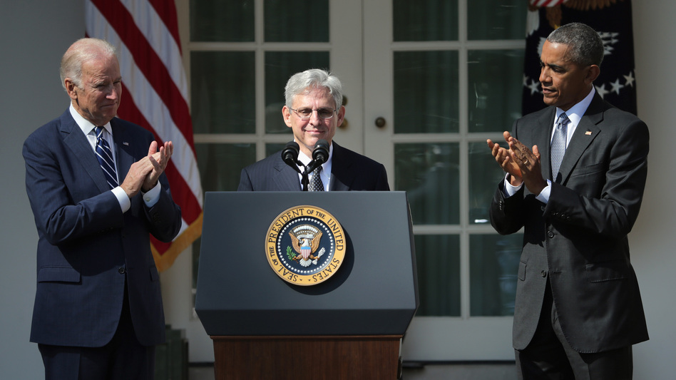 President Obama and Vice President Biden stand with Judge Merrick B. Garland as he is nominated to the U.S. Supreme Court on Wednesday at the White House Rose Garden. (Chip Somodevilla/Getty Images)