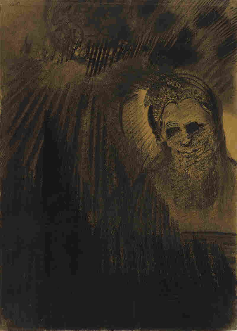 It's raining black in Odilon Redon's charcoal work, Apparition.