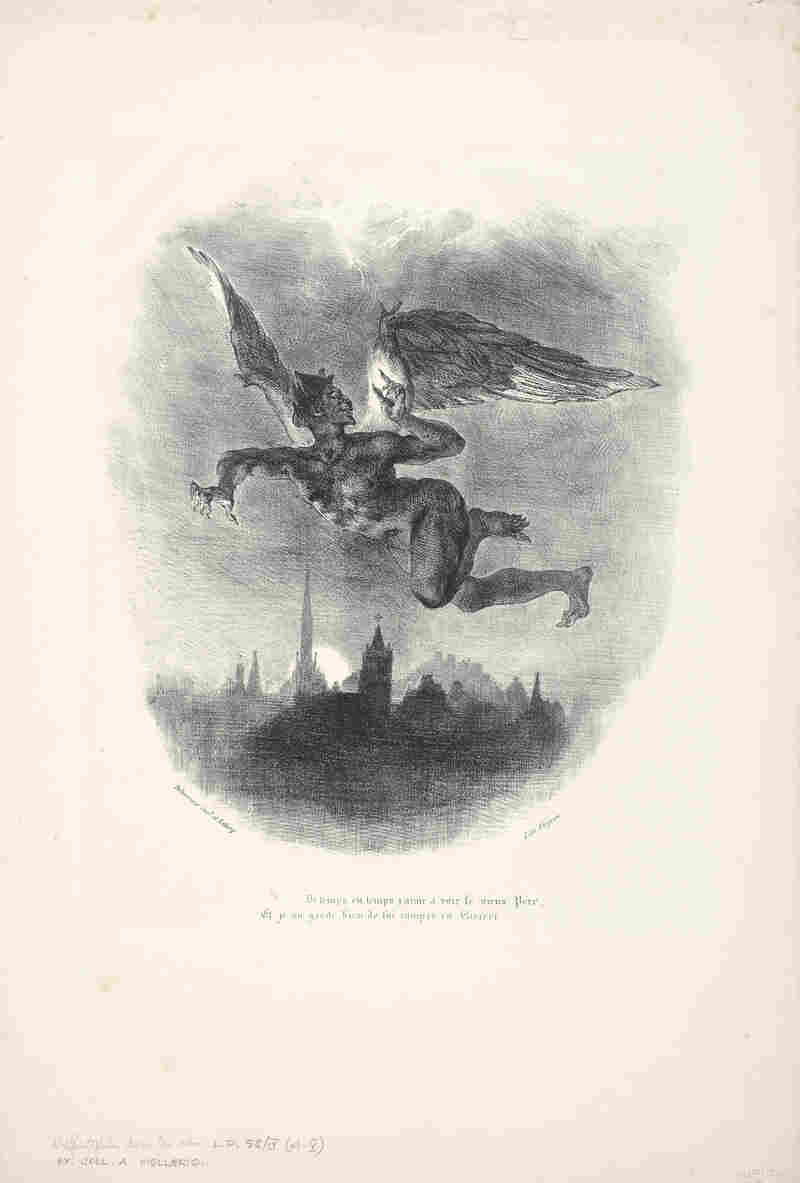 In Eugène Delacroix's 1827 lithograph, Mephistopheles Aloft, 1827, a demon flies over a dark city.