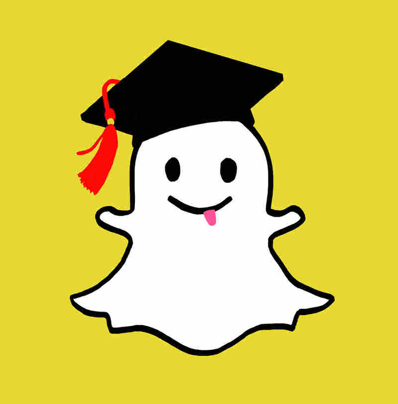 Snapchat ghost with graduation cap