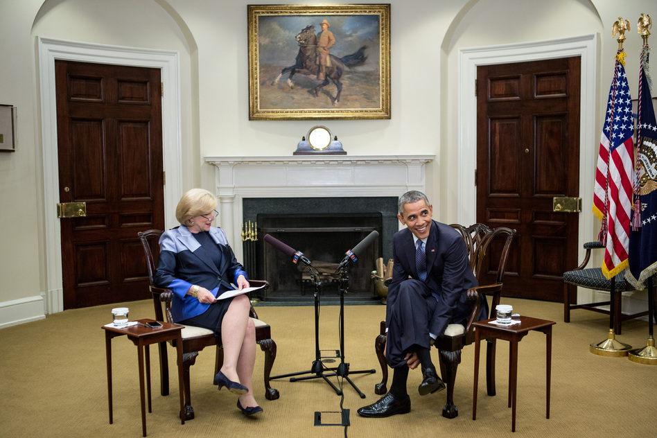 NPR's Nina Totenberg interviews President Obama in the Roosevelt Room of the White House on March 17. (Ariel Zambelich/NPR)