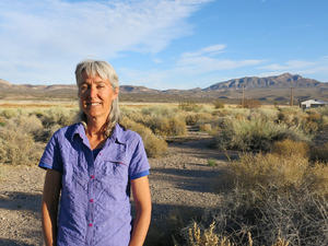 Laura Cunningham, co-founder and executive director of Basin and Range Watch, stands near her home in Nevada. Her group has taken legal action against the U.S. Bureau of Land Management to learn more details about the number of bird deaths associated with Crescent Dunes Solar Energy Plant.