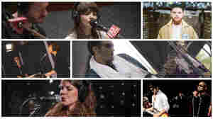 Clockwise from top left: Chvrches (The Current), Jack Garratt (courtesy of the artist), Bombino (Cameron Pollack/WXPN), The Heavy (KUTX), Hinds (Melissa Wax/KEXP), Lucius (Rich McKie/WXPN).