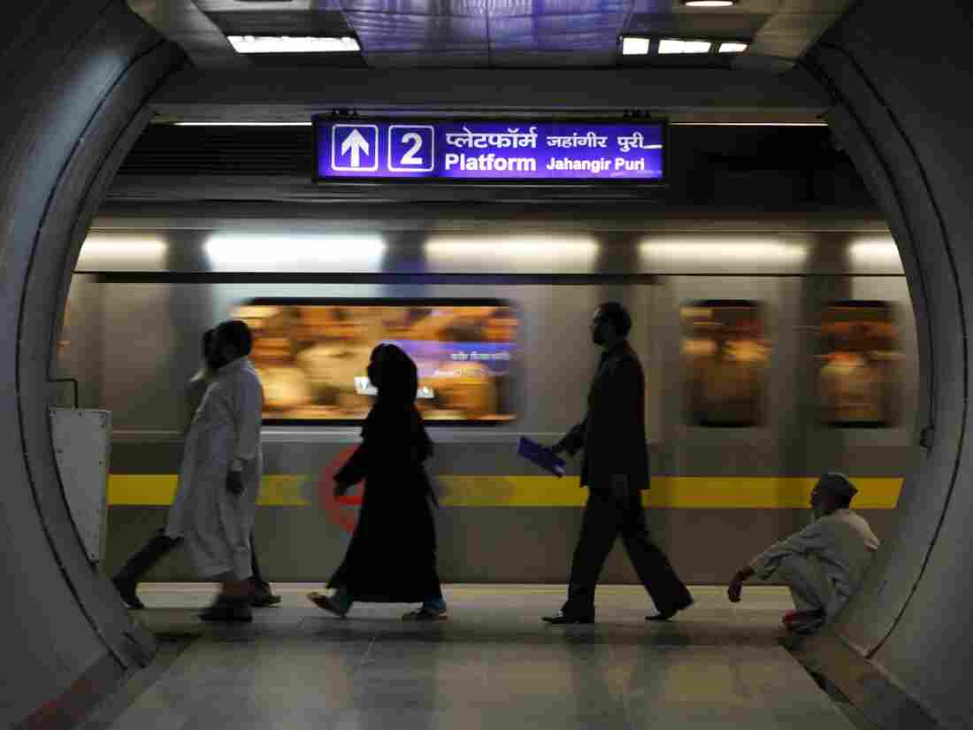 """A Delhi subway station. Our Delhi-based writer says: """"The minute I get into a subway station, I feel like I'm in a different city."""