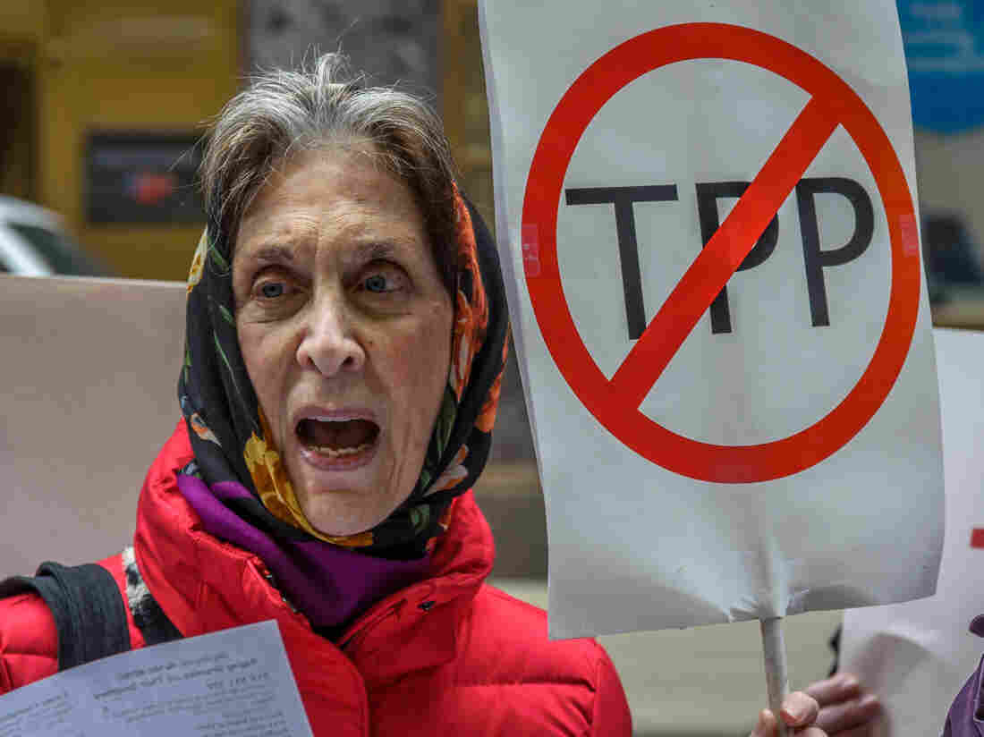 """A protester holds a """"STOP THE TPP"""" sign outside the New Zealand consulate in New York, where activists protested the TPP deal."""