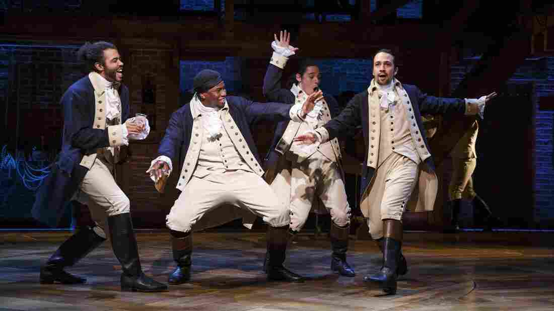 Marquis de Lafayette (Daveed Diggs), Hercules Mulligan (Okieriete Onaodowan), John Laurens (Anthony Ramos), and Alexander Hamilton (Lin-Manuel Miranda) in the acclaimed Broadway musical Hamilton.