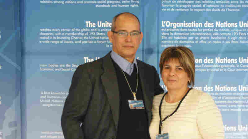 Alejandro Gonzalez Raga and his wife, Bertha Bueno Fuentes, visit the U.N. Council of Human Rights in Geneva in 2013. After Gonzalez was imprisoned in Cuba for five years, the Catholic Church and Spanish government helped negotiate his release, into exile in Spain. His wife and children were allowed to accompany him, and the family currently has refugee status in Spain.