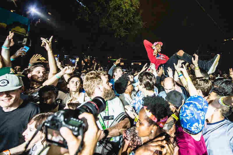 Crowd surfing to Vince Staples at Stubb's.