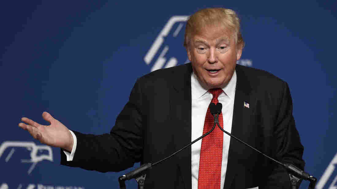 Republican presidential candidate Donald Trump addresses the Republican Jewish Coalition in December. He was booed for hesitating on the question of whether Jerusalem should be the capital of Israel.