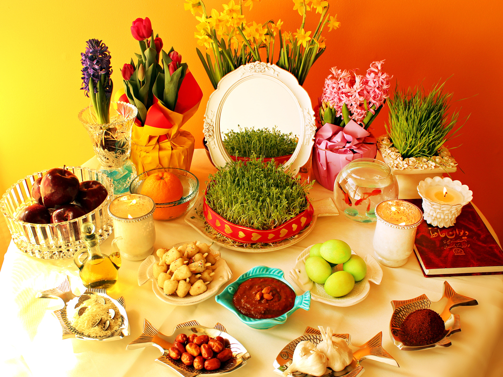 In every home, the haftseen table is decorated with seven items – since seven is considered a lucky number. Each item begins with the letter sin (s) in Persian, and each item is a symbol of spring and renewal.