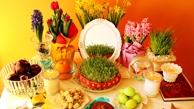 In every home, the haftseen table is decorated with seven items – since seven is considered a lucky number. Each item begins with the letter sin (s) in Persian, and each item is a symbol of spring and renewal. (Azita Mehran/Turmeric & Saffron)