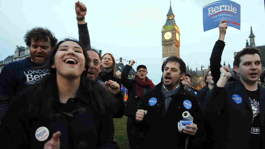 Supporters of Democratic presidential candidate Bernie Sanders gather in London earlier this month as voting began for American Democrats abroad.