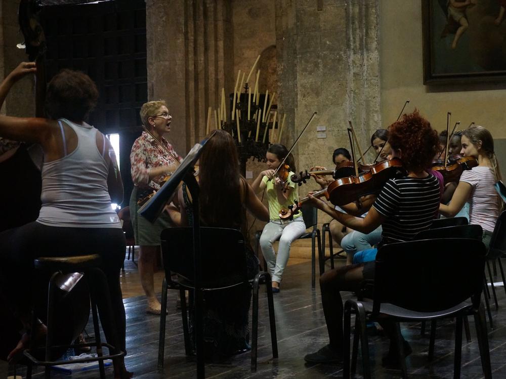 The Camerata Romeu rehearses at the Basilica of St. Francis of Assisi in Havana in November 2015.