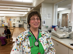 Cindy Robin, a registered nurse at Women and Infants Hospital in Providence, R.I., helps newborns through symptoms of withdrawal.