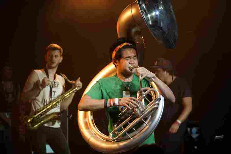 The gnarly, punky and funky brass band Lucky Chops played Empire Control Room.