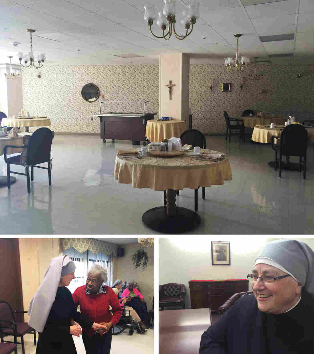 (Top) Cafeteria at a home run by the Little Sisters of the Poor in Washington, D.C. (Left) A nun dances with resident Alberta Wright. (Right) Sister Constance Veit.