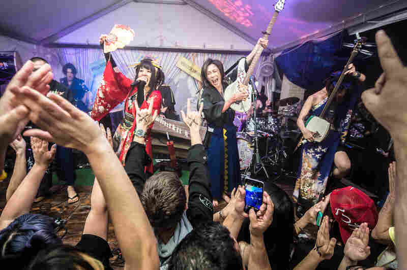 Clad in kimonos, WaggakiBand combined traditional Japanese instruments with metal-inspired songs for a wild set.
