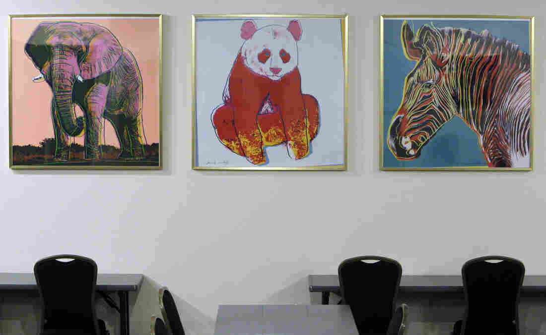 Prints by the late artist Andy Warhol decorate a classroom at the Cleveland Metroparks Zoo.
